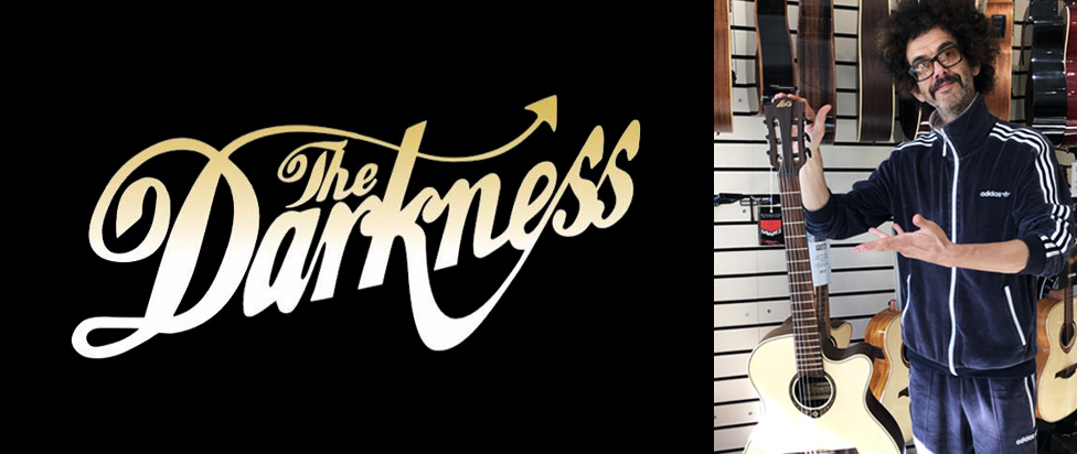 Frankie Poullain from the The Darkness embraces Lâg Guitars